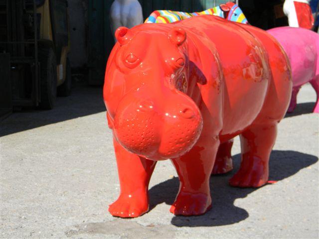 Hippopotame monochrome mm 51 x102 cm for Statue en resine pour jardin